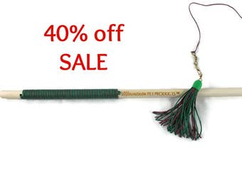 32 Inch Tassel Teaser Cat Wand Toy - Hemp Cat Toy - All Natural Cat Toy - Green & Burgundy - Save 40%