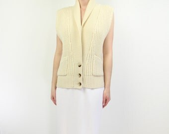 VINTAGE Cardigan Cream Sleeveless