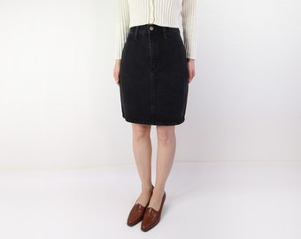 VINTAGE Black Denim Skirt Pencil Short High Waist