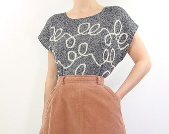 VINTAGE 1980s Knit Top Grey Telephone Cord