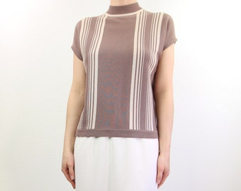 VINTAGE Stripe Knit Top Mauve 1970s