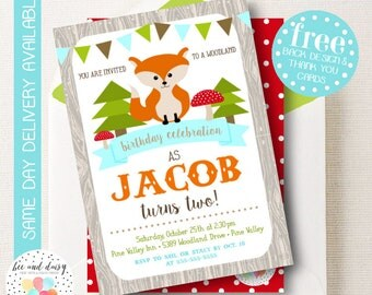 Woodland Fox Invitation, Fox Birthday Invitation, Fox Birthday Party, Fox Party Invitation, Boys Birthday Invite, BeeAndDaisy