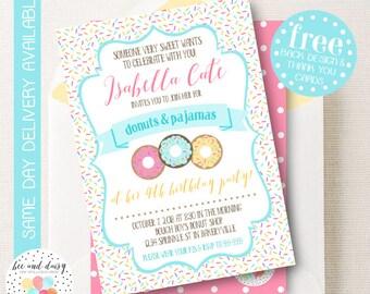 Donut Invitation, Donut Birthday Invitation, Donut Birthday Party, Donut Party Invitation, Donuts and Pajamas Party, BeeAndDaisy