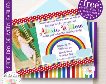 Over the Rainbow Invitation, Rainbow Birthday Invitation, Rainbow Party, Girl First Birthday, Girl Birthday, Rainbow Invite Photo Invitation
