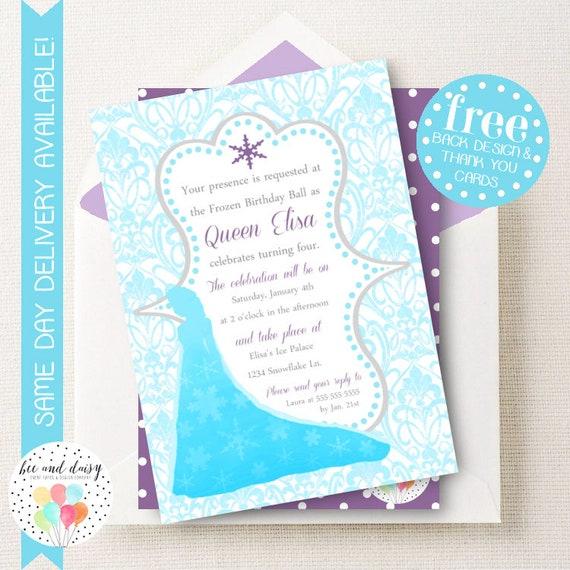 frozen princess invitation for girls birthday party printable