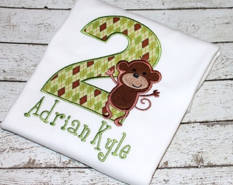 Boy's Monkey Birthday Shirt, Zoo Birthday, Jungle Birthday, Safari Birthday, Personalized Monkey Birthday Tee, Monkey Tee