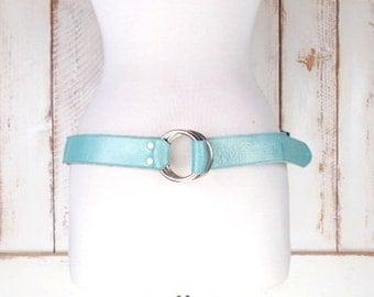 Vintage wide light blue  leather metal ring belt/harness belt/90s leather belt/Cynthia H Designs/medium