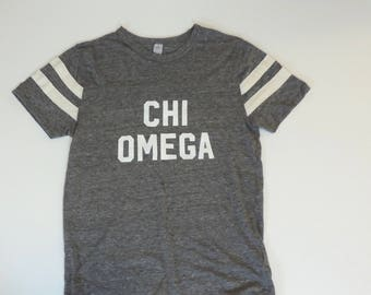 New Chi Omega Gray Alternative Short Sleeve Shirt // Size SMALL // Only One // Ready to Ship