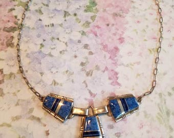 Vintage Native American Navajo Sterling Silver and Blue Lapis Necklace Signed J Charley