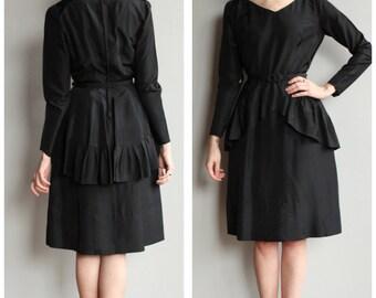 1950s Dress // Peplum Party Dress // vintage 50s dress