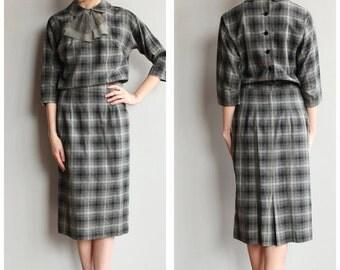 1950s Dress // Ann Marsh Wool Plaid Dress // vintage 50s sheath dress