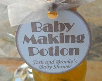 "50 Baby Shower Custom 2"" Favor Tags - Baby Making Potion - for Mini Wine or Champagne Bottles - Gift Favor Tag - Personalized Thank You Tag"