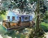 Reserved for Michele:  House Portrait Commission, 11x14, original watercolor