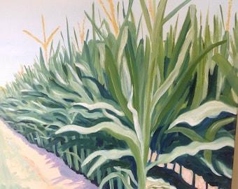 Corn Stalks | 18 x 24 inch Impressionist | Landscape | Agricultural Farm countryside Art | Original Oil Painting farm southern