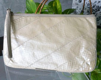 Free Shipping! I MAGNIN Bone Color Leather and Reptile Clutch