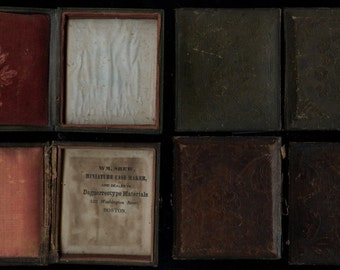 Two Empty 1840s 1/6 Leather Floral Cases - One by Shew