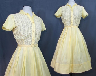 Hope Reed Yellow Cotton & Lace Vintage Day Dress - 1950s-60s - S-M