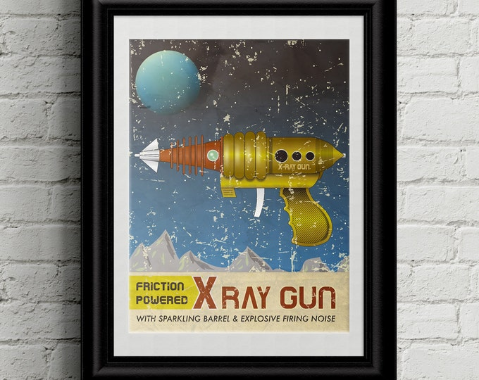 Science Fiction Wall Art, Gifts for Geeks, Vintage Ray Gun Toy Wall Art Print. Vintage Sci-Fi-fi Art for Boyfriend Gift, Movie Poster