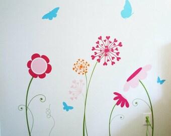 "Flower garden wall decals / custom size 38""x50"""