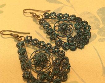 Vintage verdigris Dangle Earrings