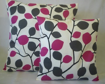 """PAIR Pink Pillow Covers Fuschia Grey Floral Designer Cushions Throws Scatter Sofa Accent Decorative Pillows 16"""" (40cm)"""