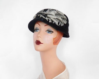 1950s black hat, vintage toque with feathers, womans 1960s hat