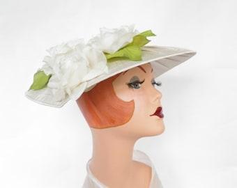 Vintage 1950s hat, wedding bride hat, roses, Audrey Hepburn style