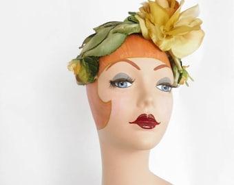 1960s flower hat, vintage gold rose, green leaves