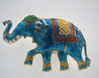 Thai Sterling Silver Enamel Large Elephant Brooch. Early Siam Silver Gold Plated Royal Lucky Elephant Figural Pin. Vintage Asian Jewelry