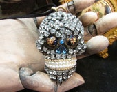 Madonna Enchanted jeweled skull necklace Gothic goth Halloween jewelry antique rhinestone and faux pearl unique one of a kind