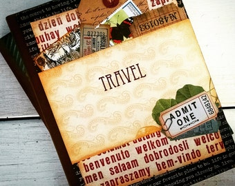 Travel Journal Smashbook Art Journal Keepsake Unlined Pages Vacation Road Trip Honeymoon Adventure Gift for Her or Him