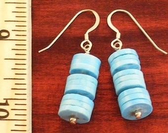 Moms Day Gift for Mom, Turquoise Jewelry Gift Mom, Silver Turquoise Earrings ER1