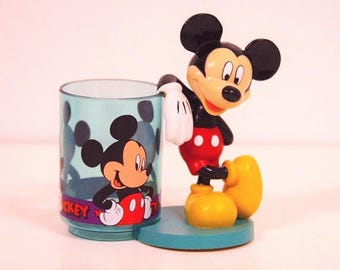 Mickey Mouse Character Cup.  Plastic Glass and Holder/Handle. Unused.