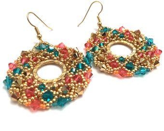 Crystal Netted Hoops in Blue Zircon, Gold and Padparadscha, Beaded Earrings, Crystal Earrings, Beadwoven Earrings