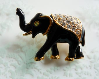 Vintage Enamel and Rhinestone Elephant Brooch