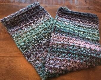 Winter, scarf, crocheted, blue, purple