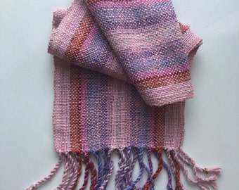 Pink + Burnt Orange Handwoven Scarf, table runner
