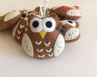 Plush Felt Owl - owl ornament favors