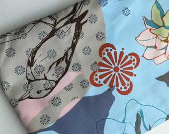 Anna's Drawing Room Sketchbook Blue Fabric, Bird Fabric, Home Decor Fabric, OOP, HTF