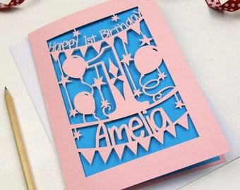 Personalised Papercut First Birthday Card, Laser Cut Birthday Card With Name, Baby's First Birthday, Keepsake Card, sku_1_birthday