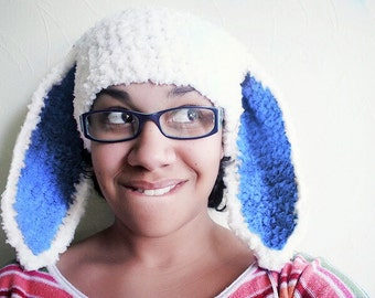 Blue Ears Easter Bunny Hat Adult Size in White and Blue, Crochet Bunny Ears Beanie Flopsy Rabbit Hat, Bunny Costume Women and Girls Hat