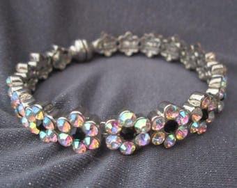 bangle bracelet, rhinestone bracelet, flower bracelet, rhinestone jewelry, bling jewelry, bling bracelet, rhinestone bangle, vintage bangle