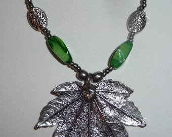 Green and Silver Leaf Necklace - Silver Leaf Pendant - Green Leaf Necklace - Green Silver Necklace
