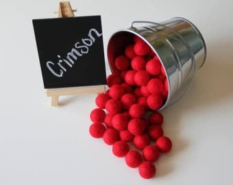 Felt Balls- Crimson Red- 20mm-Pk of 20