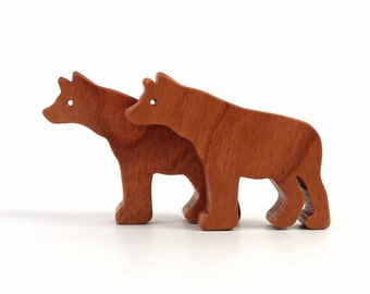 Wood Toy Hyena Pair Miniature Noah's Ark Animals Zoo Play Set Afriacn Animal Tiny Hyena Figurine