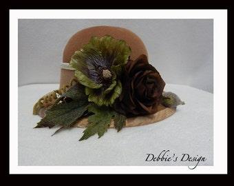 Women's Handmade Cloche Hat-505 Women's Felted Cloche Hat, Accessories, Hat, Handmade, cloche felt hat, Downton abbey, Black and White