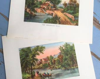 Vintage Currier & Ives Print Pair The River Side The Roadside Mill