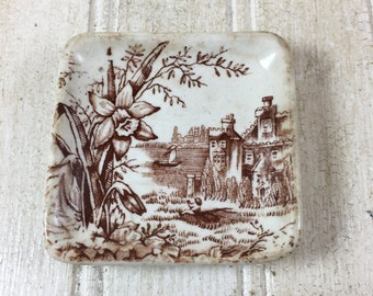 Vintage Brown Transferware Butter Pat