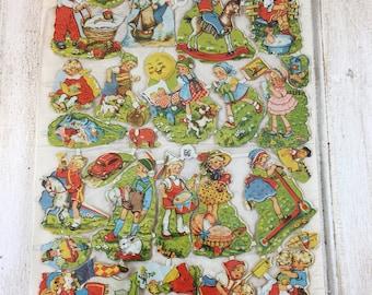 Vintage German EAS Lithographed Paper Die Cuts of Childhood Scenes