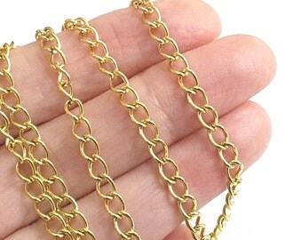 Gold Stainless Steel Twist Chain, Extender Chain, Bulk Jewelry Making Findings, Open Link, ...